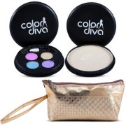 Color Diva 4in1 Eyeshadow Compact With Golden Makeup Pouch Set of 3 C-538