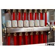 Set distribuitoare inox Herz Armaturen pentru incalzire in pardoseala , plafon sau pereti cu 9 cai