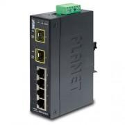 PLANET IP30 Slim Type 4-Port Industrial Ethernet Switch + 2-Port SFP Fiber (-40 - 75 C)