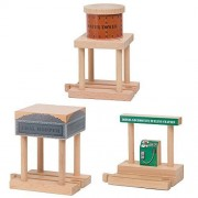 Water Tower, Coal Hopper, Diesel Fuel Station Combo Pack for Wooden Railway Fits Thomas Wooden, Chug