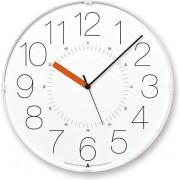 Lemnos Zegar ścienny Awa Cara biała tarcza z pomarańczową wskazówką