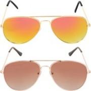 Criba Aviator Sunglasses(Golden, Brown)
