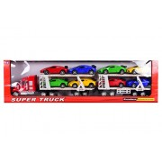 Planet Of Toys 1:24 Trailer Truck With 8 Cars For Kids - Multi Color