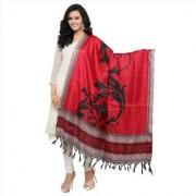 Meia Sarees Printed Khadi Silk With Tessels Red Coloured Casual Wear Women's Dupatta.