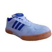 Port Men's Croock White Blue PU Badminton Shoes