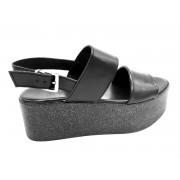 ESTRO Made in Italy Sandalo Zeppa Con Doppia Fascia In Nappa - Nero - - M-E04-19