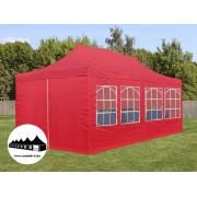 3x6m összecsukható pavilon ablakos Piros (Normál kivitelű)