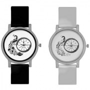 KAJARU Peacock Black And White Colour Round Dial Analog Watches Combo For Girls And Women