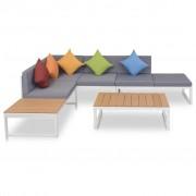 vidaXL Mobilier de grădină cu canapea de colț, 19 piese, aluminiu WPC