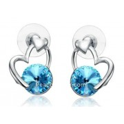 Szív alakú fülbevaló kék Swarovski kristállyal