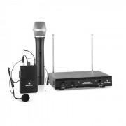 Auna VHF-2-HS Juego de micrófono inalámbrico VHF de 2 canales con 1 micrófono (PR5-VHF 2-H-HS)