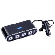 4x12V USB LED Rozbočovač do auta s vypínačmi 12/24V