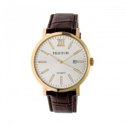 Heritor Automatic Bristol Leather-Band Watch w/Date - Gold/Silver HERHR5307