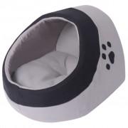 vidaXL Къща за котка, сиво и черно, M