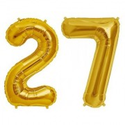 De-Ultimate Solid Golden Color 2 Digit Number (27) 3d Foil Balloon for Birthday Celebration Anniversary Parties