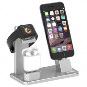 Suporte de Carregamento 3-em-1 HJZJ001 - iPhone, Apple Watch, AirPods - Prateado