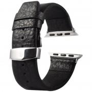 Kakapi voor Apple Watch 38mm Buffalo verbergen dubbele gesp lederen horlogeband met Connector(Black)