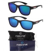 Fashno Combo of Unisex Black Frame Blue and Green Lens Wayfarer U.V Protected Sunglasse(FCMSGN19)