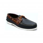 Zapato De Piel Top Sailer Modelo 102 Azul Marino / Red Brown