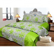 AS Beautiful flowers Design cotton Double Bed sheets with 2 pillow covers- Green