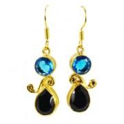 Riyo Glamorous Blue Topaz Cz Black Onyx Earring GPEMUL-52024