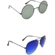 Benour Round, Aviator Sunglasses(Grey, Blue)