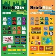 BrickStix Zombies + Apocalypse 2 Pack Reusable Stickers for Your Bricks (Lego Brick Compatible)