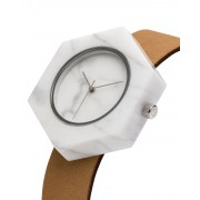 Analog Watch Mason Hexagon White Marble Body & Tan Strap Watch ST-WX