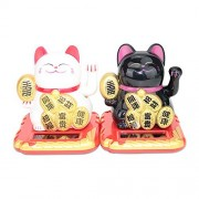Black / White Happy Beckoning Fortune Happy Cats Maneki Neko Solar Toy Home Decor Business Part Gift (B11856 + B11857)~We Pay Your Sales Tax
