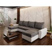 Smartshop Rohová sedačka DAKAR U 2, tmavě šedá látka/bílá ekokůže