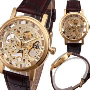 new brand fast selling transparent gold steel watch for men