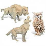 Puzzled Wolf Owl and Buffalo Wooden 3D Puzzle Construction Kit