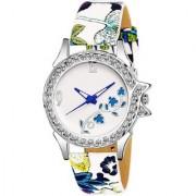 New Fancy Blue Flower Diamond Dile Leather Belt Women Girl's Watch
