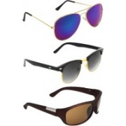 Abner Aviator, Clubmaster, Wrap-around Sunglasses(Blue, Black, Brown)