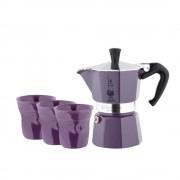 Set Espressor Bialetti Moka3+3 pahare Violet