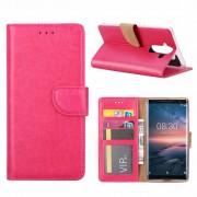 Luxe Lederen Bookcase hoesje voor de Nokia 8 Sirocco - Roze