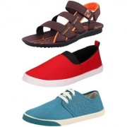 Chevit Men's Combo Pack of 3 Sandal & Casual Shoes (Loafers Sneakers & Floaters Sandals) TR-603+150+156-6