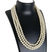 AriaSparkles Royal 3 line Fashion Imitation White Pearl Strand Three String Moti Mala Women Girls Necklace
