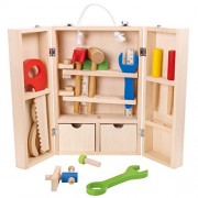 Wooden Tool Box Pretend Play Wooden Tools Kit for Kids (33 PCs)