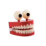 Chattering Teeth 3 Inch Jumbo Novelty Kids Fake Plastic False Funny Clacking Chatter Tooth with Eyes Classic Wind up Office Toy Gag Gift Denture BUNDLE SET OF 2