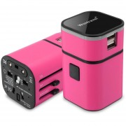 Energía del cargador del adaptador internacional Convertidor Mundial 94V0 PC USB para el ordenador PDA rosa