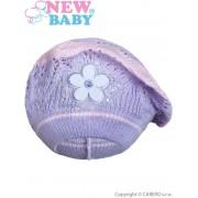 NEW BABY Pletená čepička-baret New Baby fialová