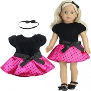 "2 Pc. Polka Dot Doll Dress Set of Dress & Headband for 18"" Dolls Fits 18 Inch American Girl Dolls & More! (Doll Shoes sold separately) Doll Clothes Party Dress in Black & Hot Pink"