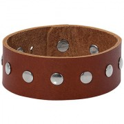 Dare by Voylla Alloy Beads Brown Leather Trend Bracelet
