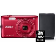 Nikon Aparat Coolpix A300 Czerwony + Karta 16GB + Pokrowiec