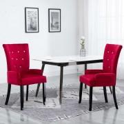 vidaXL Трапезен стол с подлакътници, червен, кадифе