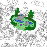 Colorings for children Zooland. Coloring pages for kids and adults. Color me posters for family. Big giant coloring...