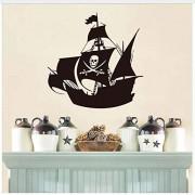 Ymran Cool barco pirata pegatinas de pared vivero creativo de dibujos animados decoración de la pared a prueba de vinilo adhesivo tatuajes de pared 44 * 44 cm