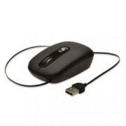 Мишка Ednet EDN-81160, оптична (1600 dpi), жична, USB, черна, самонавиващ се в корпуса кабел