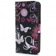 Carteira para iPhone 5 / 5S / SE - Borboletas / Flores